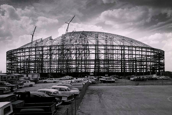 Construction of the Houston Astrodome in 1964